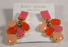 Kate Spade New York Chandelier Drop Earrings Pink Orange Crystal Statement - $89.10