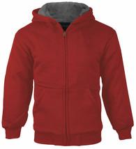 Boys Kids Athletic Soft Sherpa Lined Fleece Zip Up Hood Sweater Jacket w/ Defect
