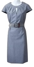Tahari Missy Size 6 Solid Gray Belted Scooped Neck Formal Party  Evening Dress - $53.20