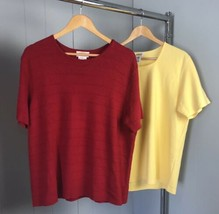 Talbots Red & Yellow Tops Lot Of 2 Size 1X Woman - $15.19