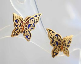 Petite Baroque  Blue Cloisonne Enamel Butterfly Pierced Earrings  - $9.95