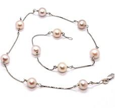Halskette Weißgold 18K, Perlen Pink Fischen, 8 mm Durchmesser, Kette Venetian image 1