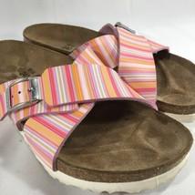 Birkenstock Birki's Santossa X Strap Slides Sandals Pink White Stripe 37 6 6.5  - $42.27