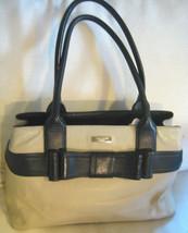 AUTH KATE SPADE Handbag Bow Beige & Black Leather Satchel - $103.62 CAD