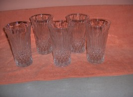 5 Vintage Fostoria Pressed Glass Crystal Flared Water Tumblers MINT - $64.35