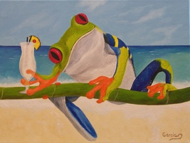 "Frog Oil Painting, Red Eyed Tree Frog - ""Miguel's Vacation Style"" (12""x16"") - $145.00"