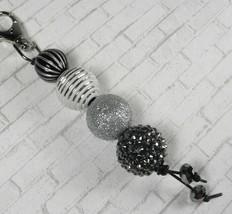 Glitter Rhinestone Bubblegum Handmade Beaded Keychain Purse Charm Black ... - $13.09