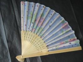 Silk Fan with Flowers Colorful Stars Handheld Fan Folding Fans Asian  #F... - $9.99