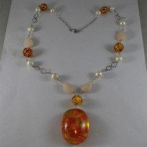 .925 SILVER RHODIUM NECKLACE WITH WHITE PEARLS, PINK JADE AND ORANGE RESIN image 2