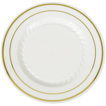 "7"" Desert Ivory Plates Premium Heavy Weight Plastic with gold trim(1 case) - £67.74 GBP"