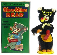 Vintage 1950's T-N Alps Nomura Shoe Shine Bear w/Insert & Perfect Box Works EX - $399.99