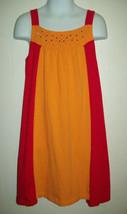 Childrens Place Girls Dress Sz 8 Orange Red Colorblock Jersey Knit Casua... - $19.79