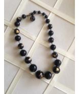 Vintage Black Venetian Glass Beaded 24K Gold Foil Chunky Fashion Necklace - $50.00