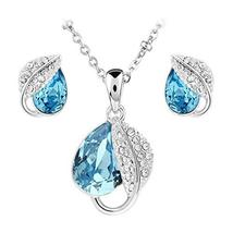 SHIP BY USPS: Jewelry Set Leaf Pendant Necklace+Stud Earrings Water Drop... - $69.95