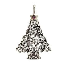 Jezlaine 925 Sterling Silver Christmas Tree Purple Glass Pendant  - $29.69