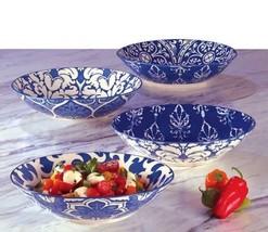 4 Pc Set Certified International Pasta Soup Salad Serving Bowls Indigo 9... - $54.99