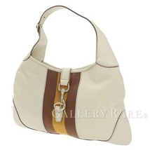 GUCCI Jackie Shoulder Bag Leather Ivory Brown Web 153029 Italy Authentic... - $338.63