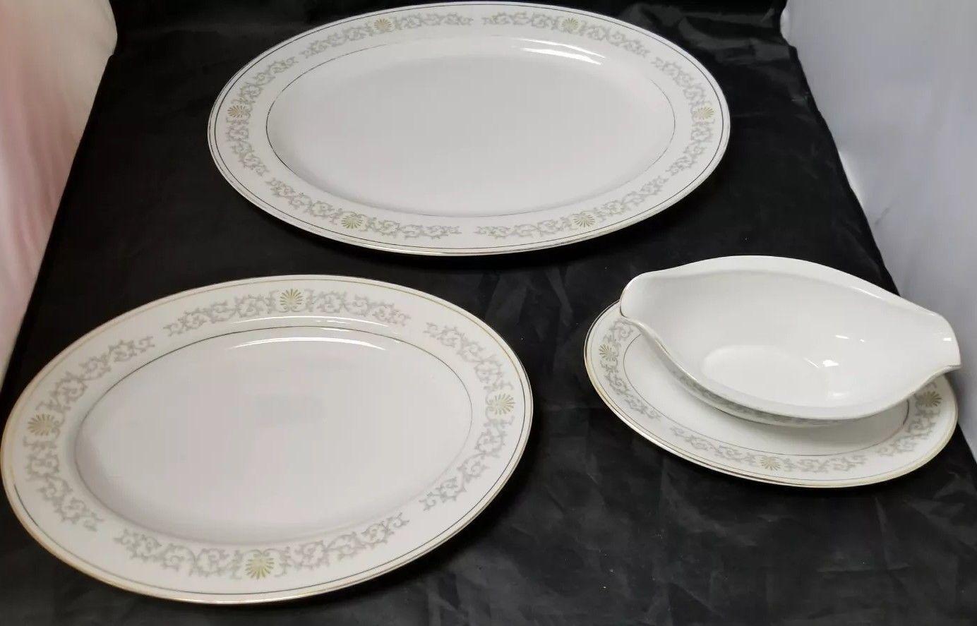 Rose China: 71 Piece Set, Joyce 2104, White w Gold Trim, Fine China, Japan image 7