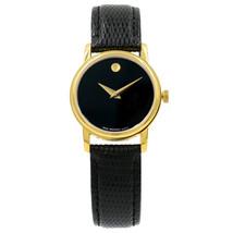 Movado Museum Black Dial Gold Tone Steel Leather Ladies Quartz Watch 210... - $299.00