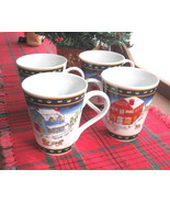 Set of Four (4) American Atelier Winter Village Porcelain Mugs - New in ... - $30.00