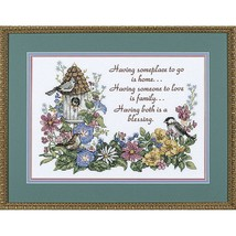 "Dimensions Stamped Cross Stitch Birds Flowery Verse Cyndy Callog 14""x10"" - $17.81"