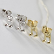 Earrings Gold Yellow or White 750 18k, Music Note, Length 0.7 cm image 1