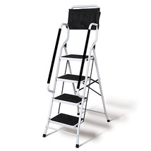 4 Step Safety Ladder with Grab Rail Handles Portable Foldable Safe Tool ... - $128.69