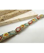 Vintage Italian Micro Mosaic Glass Bead Floral Panel Link Bracelet NN3 - $36.62