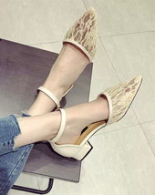 Ivory Lace Wedding Shoes/ Beige Lace Low Heels Shoes/ Off White Lace Low... - $38.00
