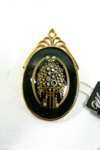 WHITING & DAVIS OVAL BLACK GOLD TONE FLORAL DESIGN PIN BROOCH W ORIGINAL... - $61.38