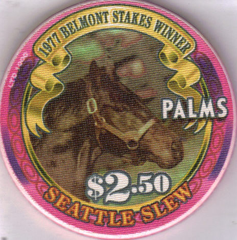 Primary image for 1977 BELMONT STAKES WINNER SEATTLE SLEW $2.50 PALMS VEGAS CHIP