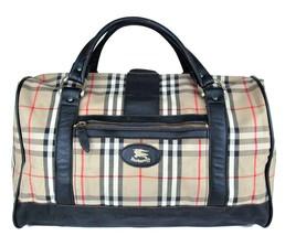 Auth Burberrys Vintage Canvas Check & Black Leather Travel Boston Bag Ha... - $296.01
