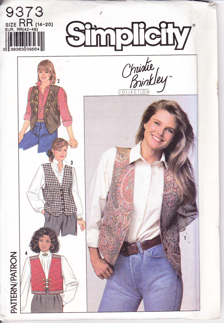 Primary image for Simplicity 9373,Christie Brinkley Collection 4 Style Vests,Uncut, Factory Folded