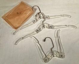 SET OF 3 VINTAGE CELEBRITY HARD PLASTIC FOLDING TRAVEL HANGERS W/ CASE - $25.73
