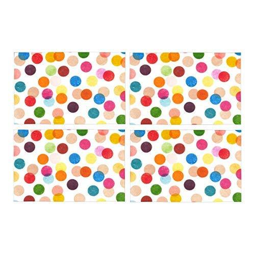 InterestPrint Funny Multicolored Polka Dots Washable Polyester Fabric Placemat P