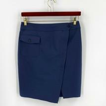 Anne Klein Skirt 12 Blue Faux Wrap Asymmetrical Hem Pencil Straight Pock... - $23.76