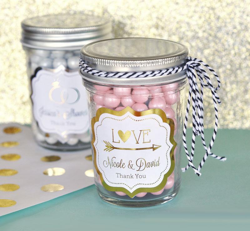 50 Personalized Gold or Silver Foil Mason Candy Jar Bridal Wedding Favor