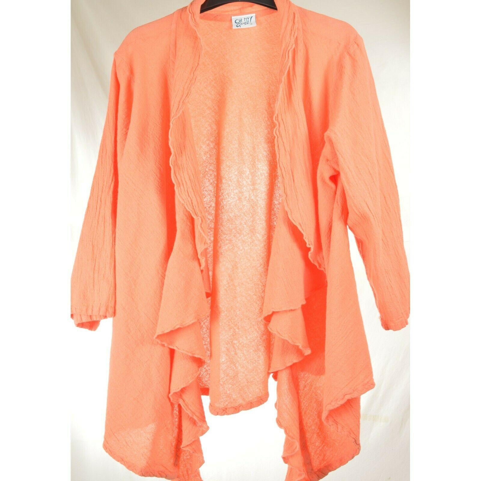 Oh My Gauge jacket cover open OS orange sherbet long sleeve ruffle front hi lo image 4