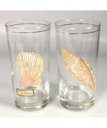2 Mid Century culver drink glass seashell MCM glasses retro kitchen beac... - $43.72