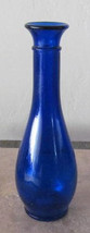 Vintage Cobalt Blue Bud Shaped Collectible Pressed Glass Vase Apothecary... - $20.00