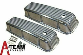 BBC BIG BLOCK CHEVY TALL FINNED POLISHED ALUMINUM VALVE COVERS 396 427 454