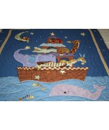 Kidsline Noahs Ark STARRY NIGHT Baby Blanket QUILT Animals Giraffe Eleph... - $37.70