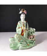 GEISHA PORCELAIN STATUE Asian sculpture figurine antique Japan jade obo ... - $123.75