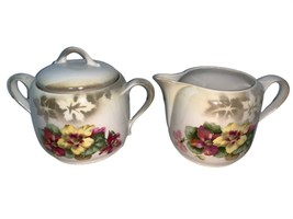 Vintage Three Crown China Sugar and Creamer Floral Germany - $20.00