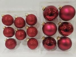Christmas Glass Glitter Shiny Burgundy Red Christmas Ornaments Set of 14 - $44.99