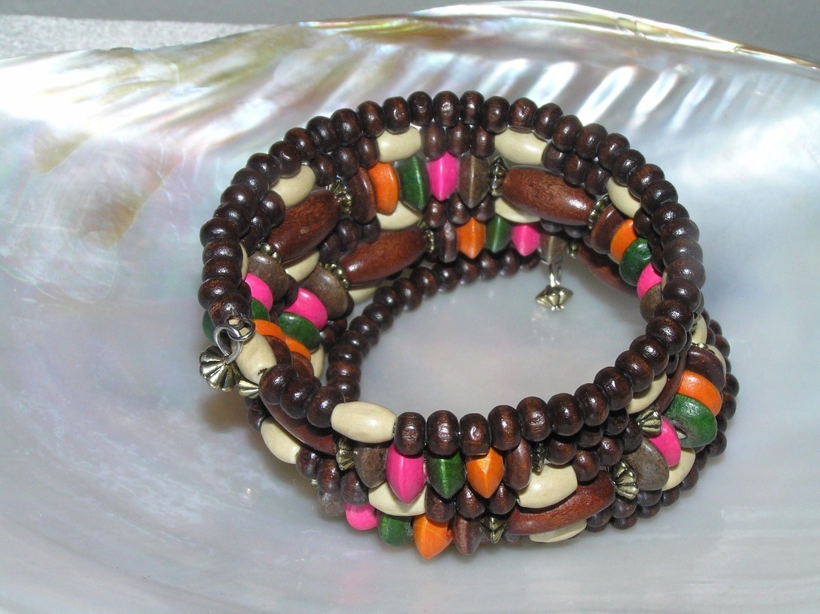 Gently Used Wide Dark Light Pink Green & Orange Painted Wood Bead Wrap Bracelet