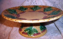 Majolica Pottery Footed Pedestal Antique Compote Tazza Cake Stand Grape Leaf Red image 1