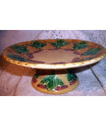 Majolica Pottery Footed Pedestal Antique Compote Tazza Cake Stand Grape ... - $205.00