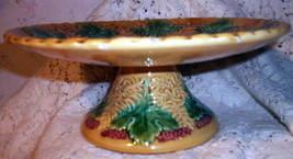 Majolica Pottery Footed Pedestal Antique Compote Tazza Cake Stand Grape Leaf Red image 4