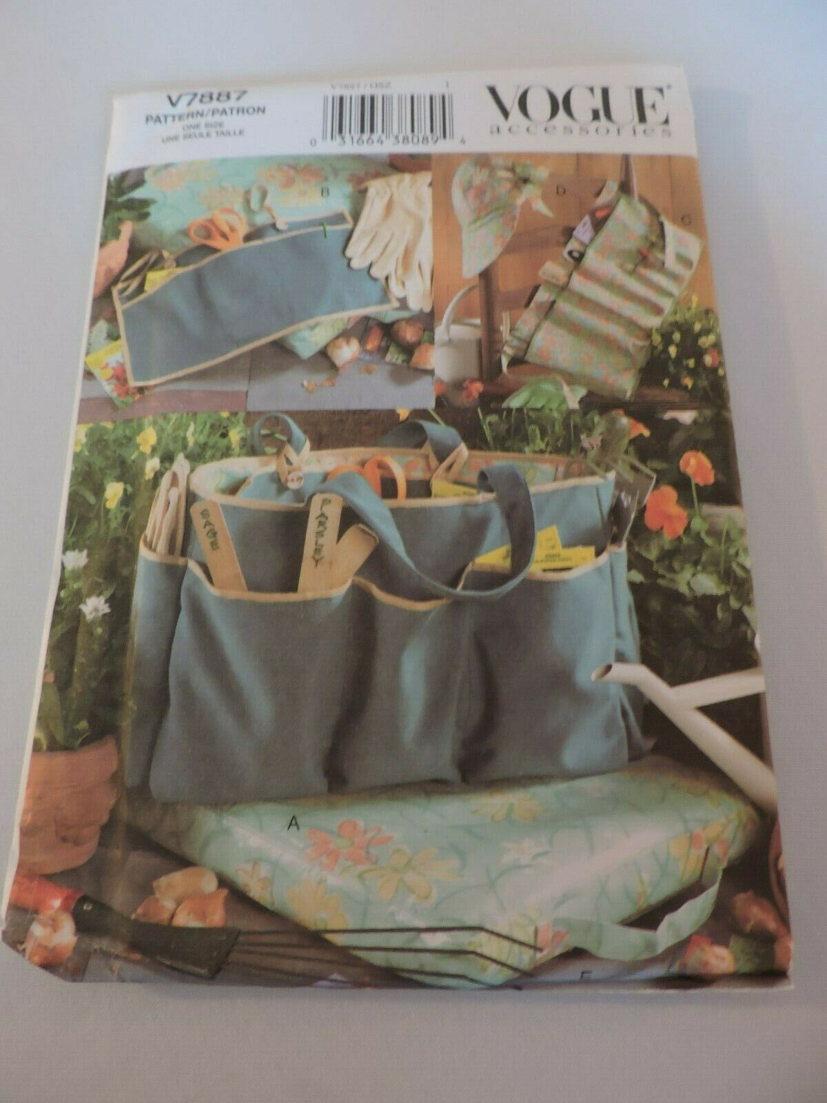 Vogue Accessories Sewing Pattern Uncut V7887 Garden Hat Bag Apron Gardener Craft